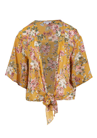 Women's Floral Cropped Tie-Front Kimono, LEMON, hi-res