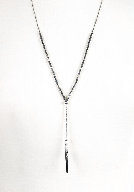 Women's Beaded Lariat Necklace, RHODIUM, hi-res
