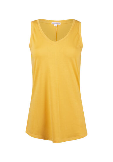 Women's Relaxed Fit V-Neck Tank, MUSTARD, hi-res