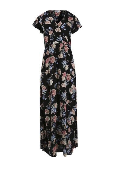 Women's Floral Wrap Maxi Dress, BLACK, hi-res