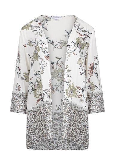 Women's Floral Kimono, IVORY, hi-res