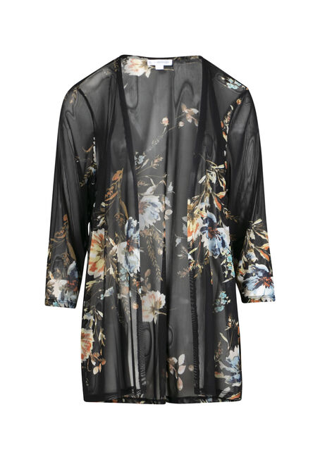 Women's Blue Floral Mesh Kimono
