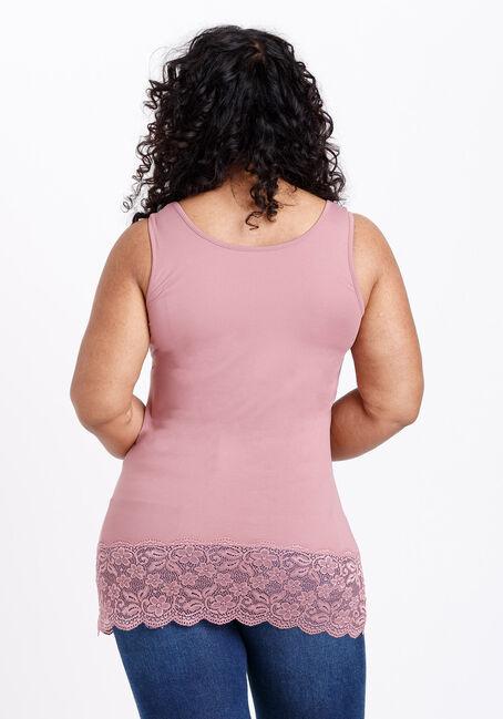 Women's Lace Trim Tunic Tank, PEONY PINK, hi-res