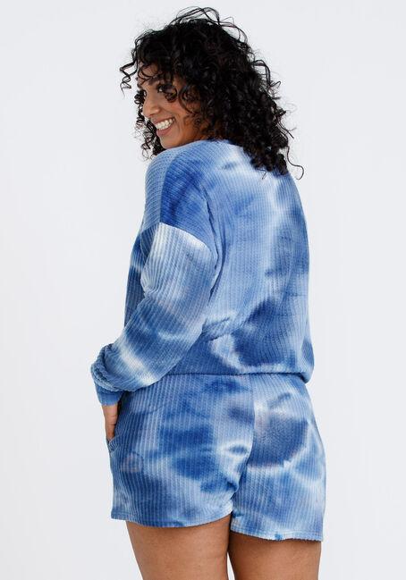 Women's Tie Dye Waffle Sleep Tee, BLUE, hi-res