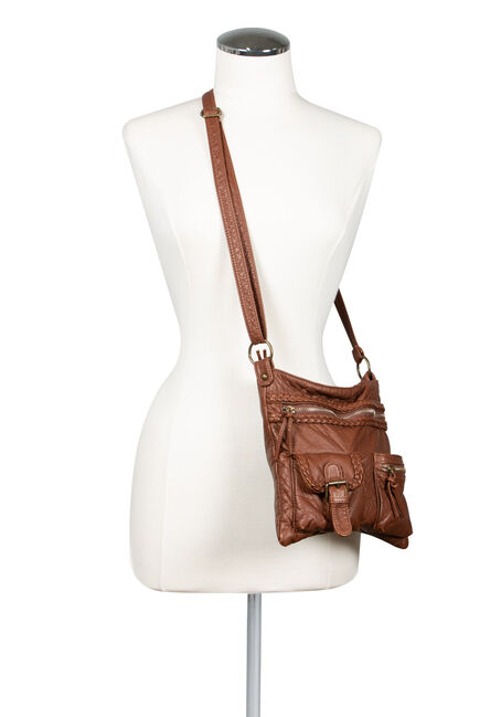 Women's Braided Trim Cross Body Bag, COGNAC, hi-res