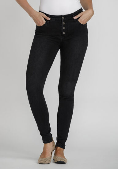 Women's Exposed Button Fly Skinny Jeans, BLACK, hi-res