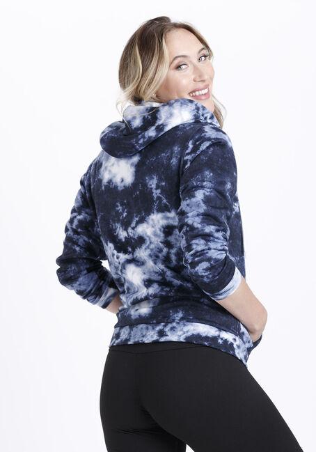 Women's Tie Dye Zip Front Hoodie, BLUE, hi-res