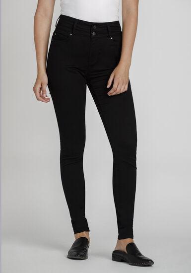 Women's High Rise Skinny Coloured Pant, BLACK, hi-res