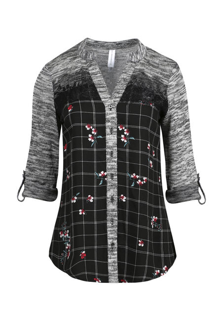 Ladies' Floral Plaid Roll Sleeve Shirt