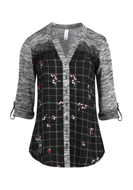 Women's Floral Plaid Roll Sleeve Shirt