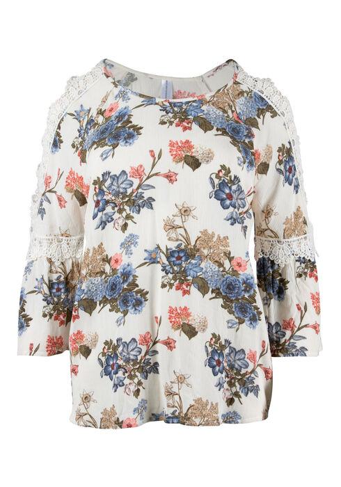 Women's Floral Cold Shoulder Top, IVORY, hi-res