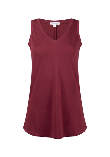 Women's Relaxed Fit V-Neck Tank, BRICK, hi-res