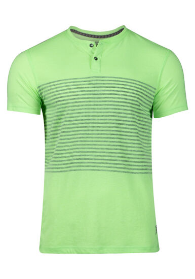 Men's Striped Henley Tee, FRESH GREEN, hi-res