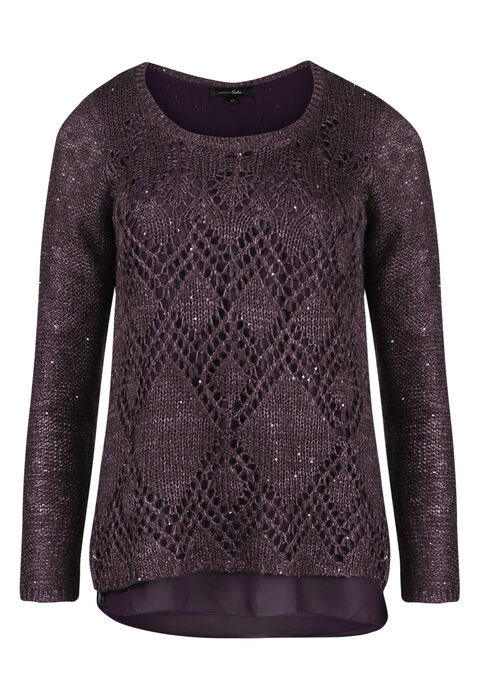 Ladies' Chiffon Back Shimmer Sweater, PASS.PURPLE, hi-res