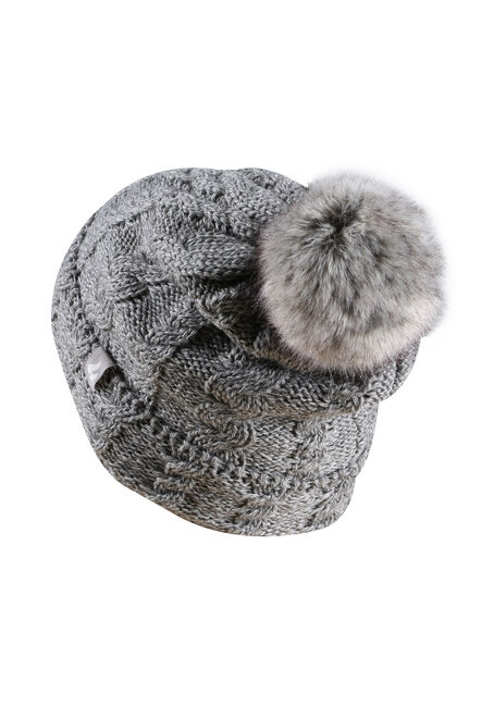 Ladies' Thermal Pom Pom Hat, GREY, hi-res