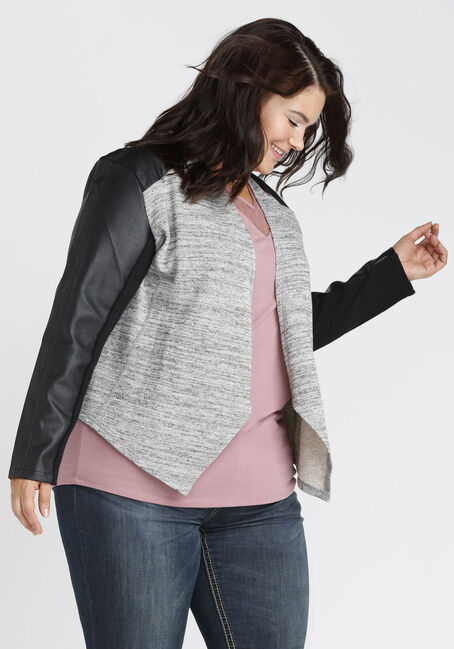 Ladies' Drape Front Blazer, GREY/BLACK, hi-res