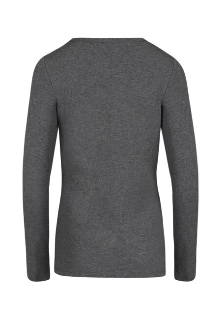 Ladies' Crew Neck Tee, CHARCOAL MELANGE, hi-res