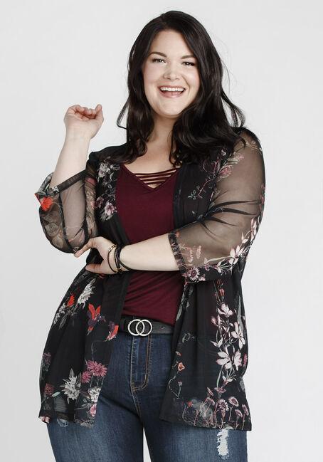 Women's Floral Mesh Kimono, BLACK, hi-res