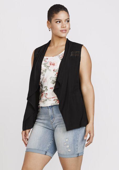 Women's Drape Front Vest, BLACK, hi-res