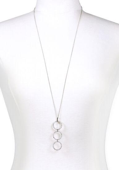 Women's Trio O's Necklace, SILVER, hi-res