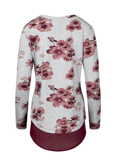 Women's Floral Scoop Neck Top, BURGUNDY, hi-res