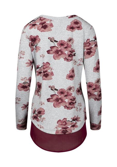 Women's Floral Scoop Neck Top, BURGUNDY, hi-res