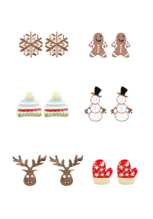 Ladies' Holiday Stud Earrings, WHITE, hi-res