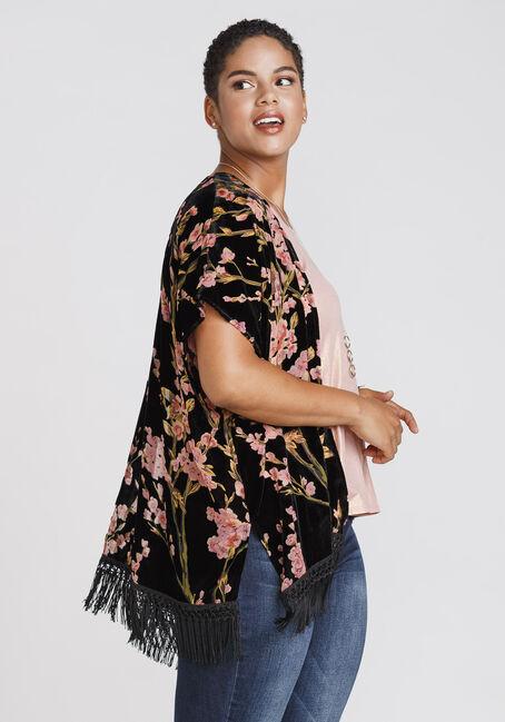 Women's Velvet Floral Fringe Kimono, BLACK, hi-res
