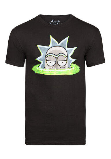 Men's Rick and Morty Tee, BLACK, hi-res