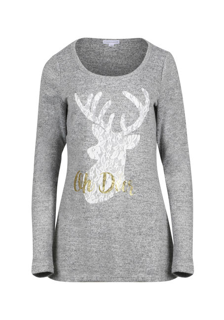 Ladies' Lace Reindeer Tunic Top