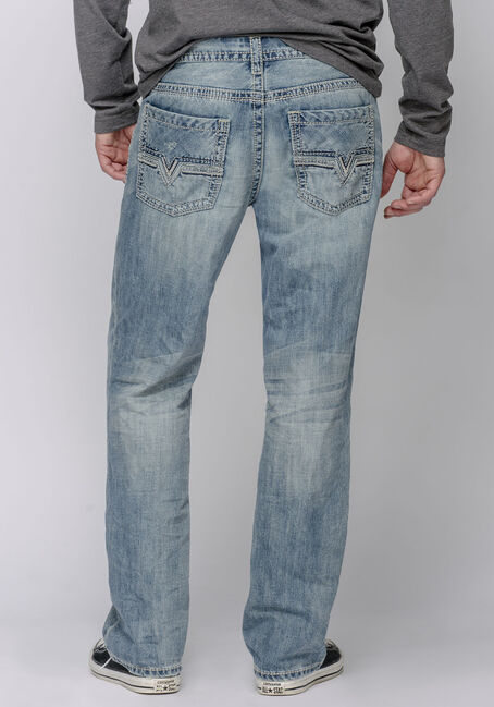 Men's Straight Leg Light Vintage Jeans, LIGHT VINTAGE WASH, hi-res