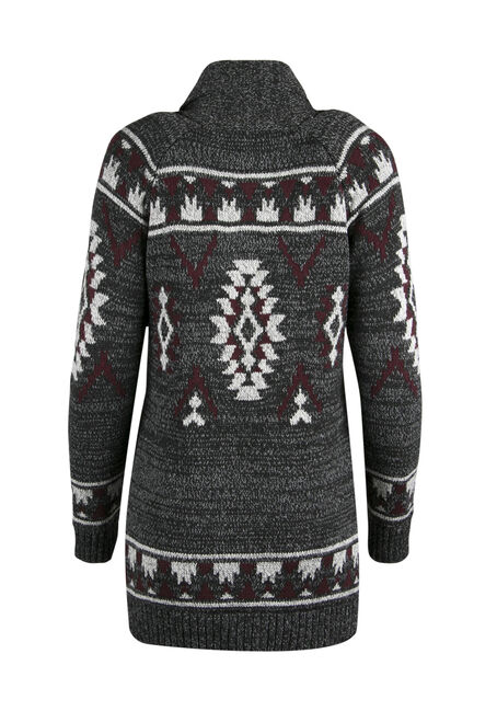 Ladies' Aztec Cardigan, CHARCOAL/ BURGUNDY, hi-res