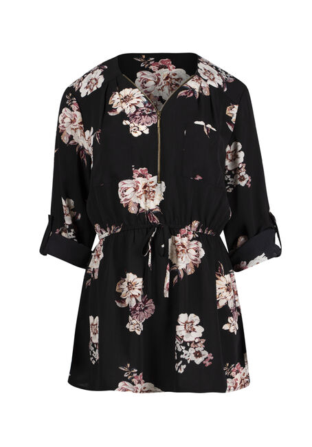 Ladies' Floral Zip Front Blouse