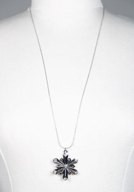 Snowflake Necklace, SILVER, hi-res