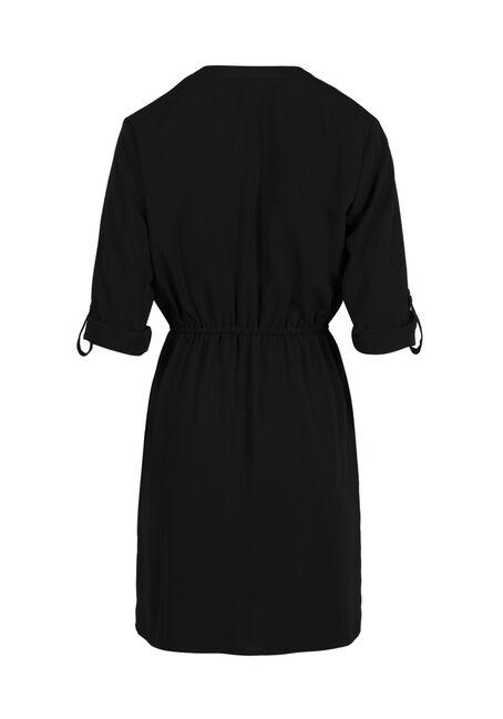 Ladies' Roll Sleeve Shirt Dress, BLACK, hi-res
