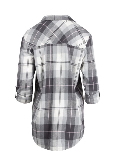 Ladies' Flannel Boyfriend Shirt, WHITE, hi-res