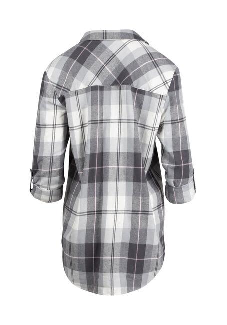 Ladies' Flannel Boyfriend Shirt, WHITE, hi-res