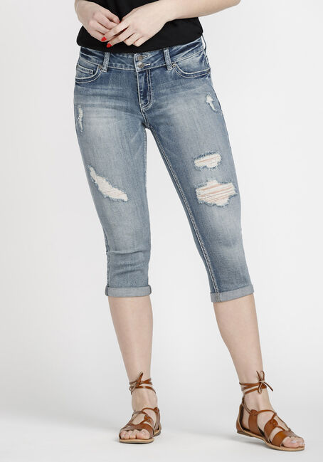 Women's Distressed Cuffed Capri