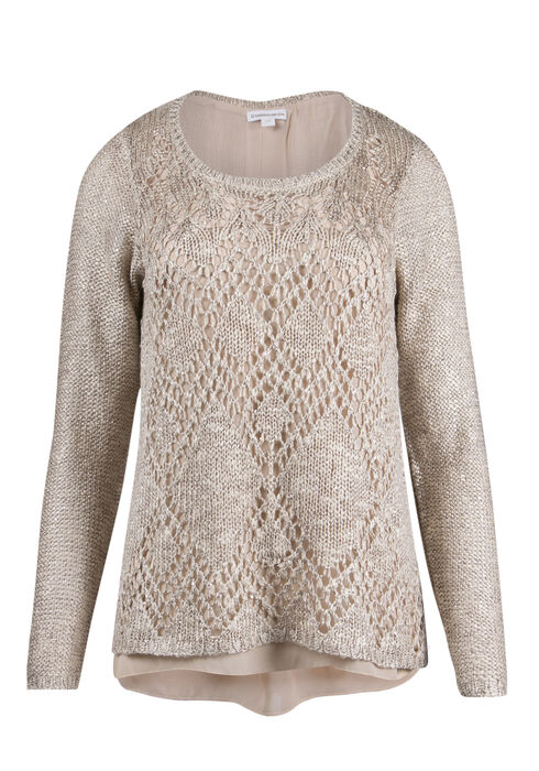 Ladies' Sequin Sweater, GOLD, hi-res