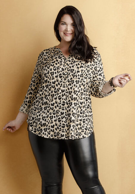Women's Leopard Print Roll Sleeve Shirt, TAN, hi-res