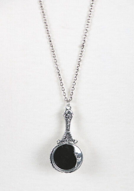 Ladies' Moon Mirror Necklace, RHODIUM, hi-res