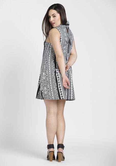 Ladies' Mock Neck Choker Dress, BLK/WHT, hi-res