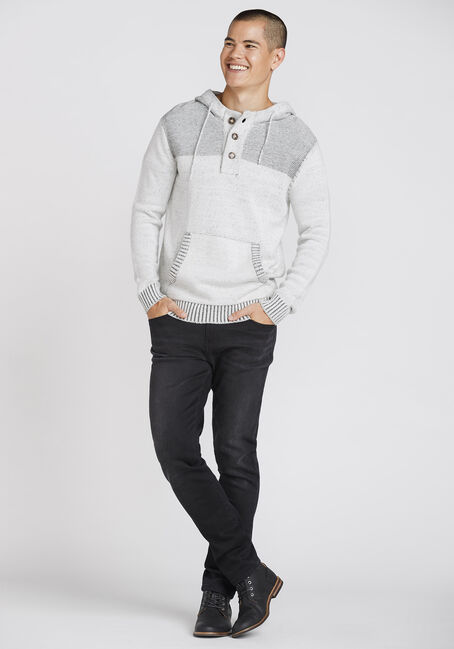 Men's Henley Hooded Sweater, WHITE, hi-res