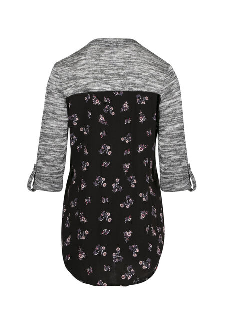 Ladies' Floral Roll Sleeve Shirt, BLACK, hi-res