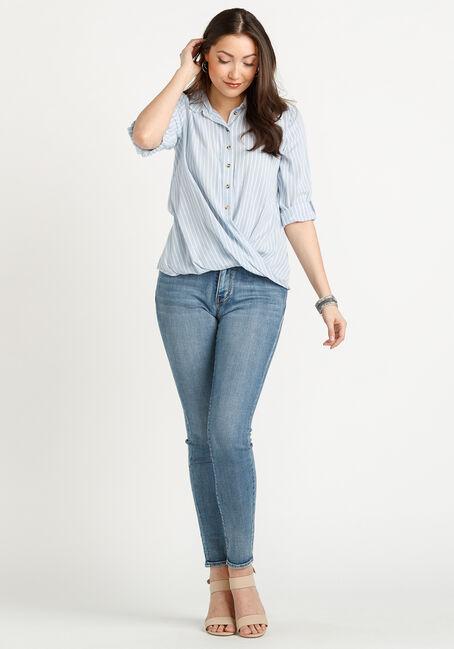 Women's Twisted Hem Stripe Shirt, BLUE/WHITE, hi-res