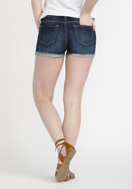Women's Cuffed Denim Short, DARK WASH, hi-res