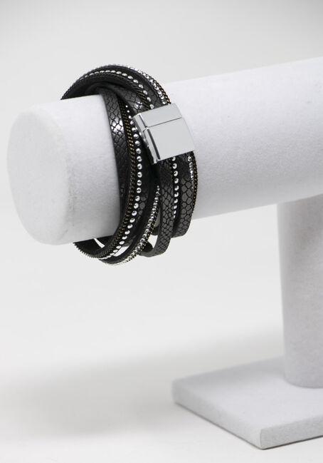 Women's Cross Wrap Bracelet, BLACK, hi-res