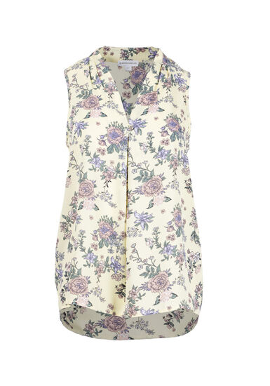 Women's Floral Pleat Front Tank, YELLOW, hi-res