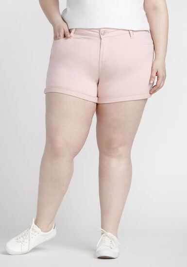 Women's Plus Size Coloured Not-So-Short Short, PINK, hi-res