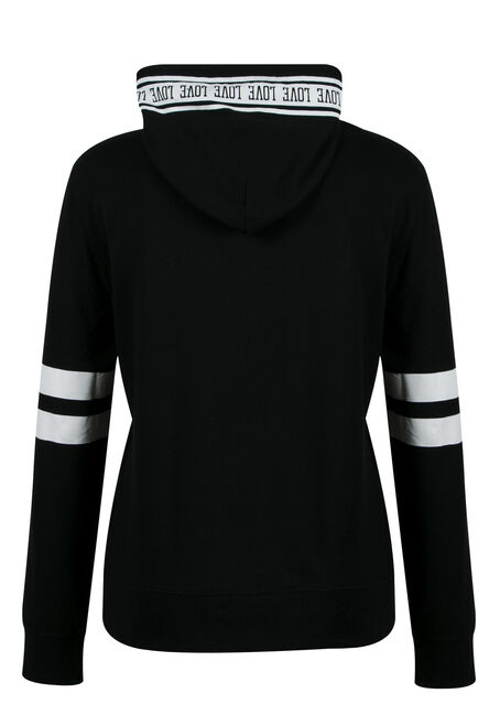 Ladies' Plus Size Love Football Hoodie, BLACK, hi-res